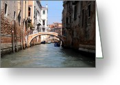 Gondola Digital Art Greeting Cards - The Canals in Venice Greeting Card by Bill Cannon