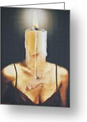 Contemplative Greeting Cards - The Candle Flame Greeting Card by Larry Butterworth