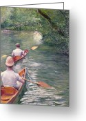 Paddles Greeting Cards - The Canoes Greeting Card by Gustave Caillebotte