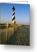 Wood Fences Greeting Cards - The Cape Hatteras Lighthouse Greeting Card by Steve Winter