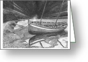 Bay Drawings Greeting Cards - The Captains Gig Greeting Card by Jack Pumphrey