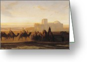 Middle East Greeting Cards - The Caravan Greeting Card by Alexandre Gabriel Decamps