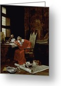 Sat Painting Greeting Cards - The Cardinals Leisure  Greeting Card by Charles Edouard Delort