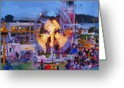 Big Wheel Greeting Cards - The Carnival Crowds  Greeting Card by Steve Taylor