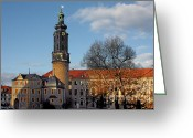 Clock Greeting Cards - The Castle - Weimar - Thuringia - Germany Greeting Card by Christine Till