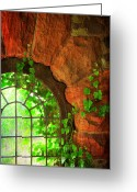Gothic Arch Greeting Cards - The Castle Window 1 Greeting Card by Paul Ward
