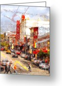 Big Cities Greeting Cards - The Castro in San Francisco . 7D7572 Greeting Card by Wingsdomain Art and Photography