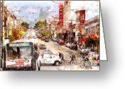 Big Cities Greeting Cards - The Castro in San Francisco . 7D7573 Greeting Card by Wingsdomain Art and Photography