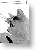 Cat Profile Greeting Cards - The Cat Greeting Card by Ben and Raisa Gertsberg