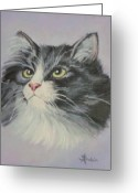 Sorin Apostolescu Greeting Cards - The Cat Greeting Card by Sorin Apostolescu