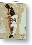 Sports Art Painting Greeting Cards - The Catch Greeting Card by Adam Barone