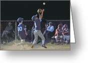 Sports Glass Greeting Cards - The Catch Greeting Card by Peter  McIntosh