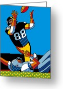 Pittsburgh Steelers Greeting Cards - The Catch Greeting Card by Ron Magnes