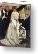Evening Dress Greeting Cards - The Celebrated Greeting Card by Joseph Marius Avy