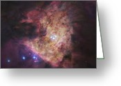 H Ii Regions Greeting Cards - The Center Of The Orion Nebula, Known Greeting Card by Robert Gendler