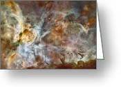 Nebula Greeting Cards - The Central Region Of The Carina Nebula Greeting Card by Stocktrek Images
