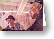Frank Sinatra Greeting Cards - The Chairman Meets the Count Greeting Card by David Lloyd Glover