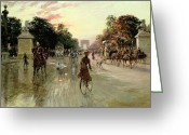 Versailles Greeting Cards - The Champs Elysees - Paris Greeting Card by Georges Stein