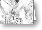 Sacred Body Greeting Cards - The Change and the Changing Greeting Card by Helena Tiainen