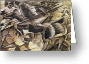 Great Painting Greeting Cards - The Charge of the Lancers Greeting Card by Umberto Boccioni