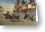 Cheering Greeting Cards - The Chariot Race Greeting Card by Alexander von Wagner
