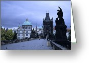 Royalty Greeting Cards - The Charles Bridge Early In The Morning Greeting Card by Taylor S. Kennedy