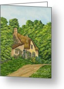 Country Dirt Roads Painting Greeting Cards - The Charm Of Wiltshire Greeting Card by Charlotte Blanchard
