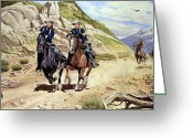 Native American Greeting Cards - The Chase Greeting Card by Marc Stewart