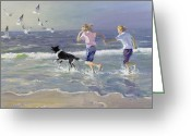 Beach Scene Greeting Cards - The Chase Greeting Card by William Ireland