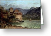 Courbet Greeting Cards - The Chateau de Chillon Greeting Card by Gustave Courbet