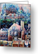 Hockey On The Streets Of Montreal Greeting Cards - The Chateau Frontenac Greeting Card by Carole Spandau