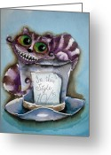 Alice In Wonderland Painting Greeting Cards - The Chesire Cat Greeting Card by Lucia Stewart