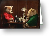 Chess Game Greeting Cards - The Chess Game Greeting Card by Judi Quelland