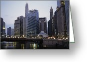 City Lights And Lighting Greeting Cards - The Chicago River And Buildings Greeting Card by Paul Damien