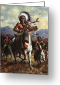 Native American Greeting Cards - The Chief Greeting Card by Harvie Brown