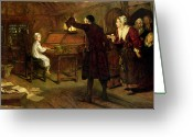 Frederick Greeting Cards - The Child Handel Discovered by his Parents Greeting Card by Margaret Isabel Dicksee