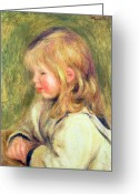 Blonde Girl Greeting Cards - The Child in a White Shirt Reading Greeting Card by Pierre Auguste Renoir
