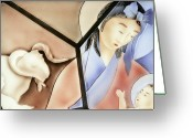 Christ Child Greeting Cards - The Chinese Jesus Greeting Card by Christine Till