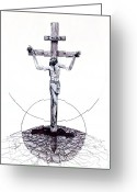 Stippling Greeting Cards - The Christ Ink Drawing Greeting Card by Kd Neeley