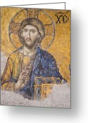 Byzantine Greeting Cards - The Christ Greeting Card by MaryJane Armstrong