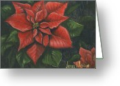 Leaf Painting Greeting Cards - The Christmas Flower Greeting Card by Jeff Brimley