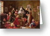 Christmas Greeting Cards - The Christmas Hamper Greeting Card by Robert Braithwaite Martineau