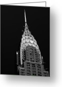Black And White Greeting Cards - The Chrysler Building Greeting Card by Vivienne Gucwa
