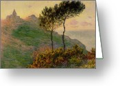 Shore Painting Greeting Cards - The Church at Varengeville against the Sunlight Greeting Card by Claude Monet