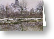 Snow Scenes Greeting Cards - The Church at Vetheuil under Snow Greeting Card by Claude Monet