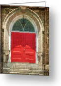 Gothic Arch Greeting Cards - The Church Door in Red Greeting Card by Paul Ward