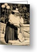 Black And White Photos Drawings Greeting Cards - The Church Lady Greeting Card by Curtis James
