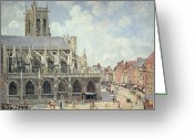 Pisarro Greeting Cards - The Church of Saint Jacques in Dieppe Greeting Card by Camille Pissarro