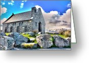 Lake Tekapo Greeting Cards - The church of the good sheperd Greeting Card by Philippe Eble