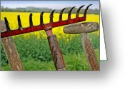 Churchyard Greeting Cards - The Churchyard Rake Greeting Card by Robert Lacy